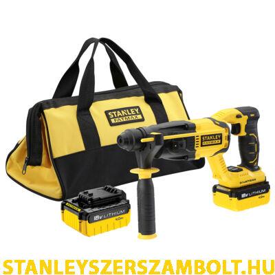 Stanley FatMax 18V-os SDS-Plus Kefe-nélküli Fúró-kalapács 2x4Ah akkuval(FMCD900M2S)