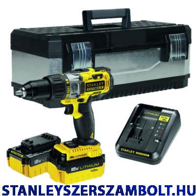 Stanley FatMax 18V-os Kétsebességes Ütvefúró-csavarozó + Fém koffer + 2x4.0Ah akku (FMCK625M2G)